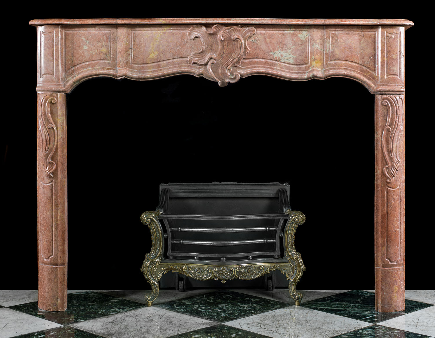 Antique carved Duquesa Rosa Marble French Louis XIV manner Chimneypiece