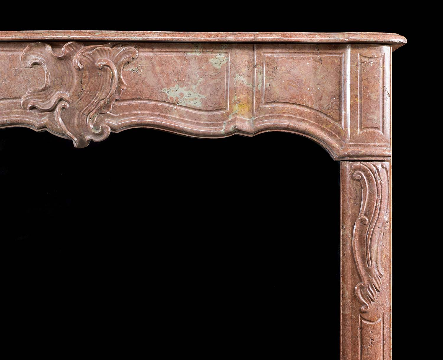 Antique carved Duquesa Rosa Marble French Louis XV manner Chimneypiece