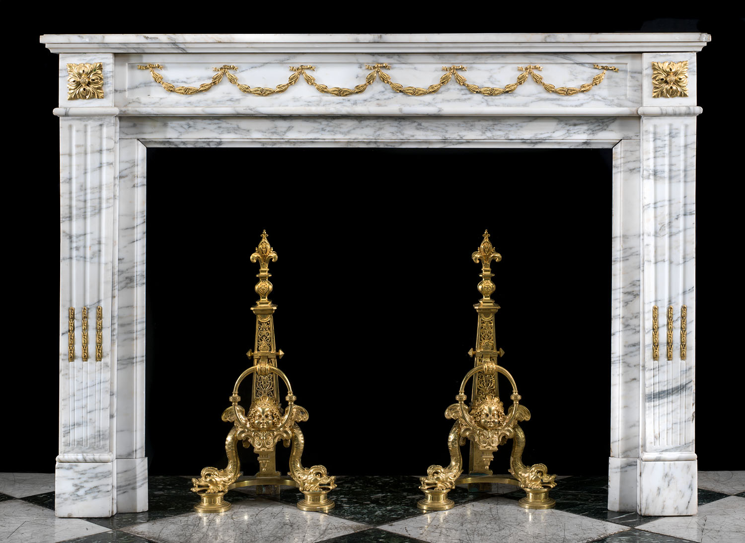 An Antique Louis XVI statuary and ormolu mounted  chimneypiece
