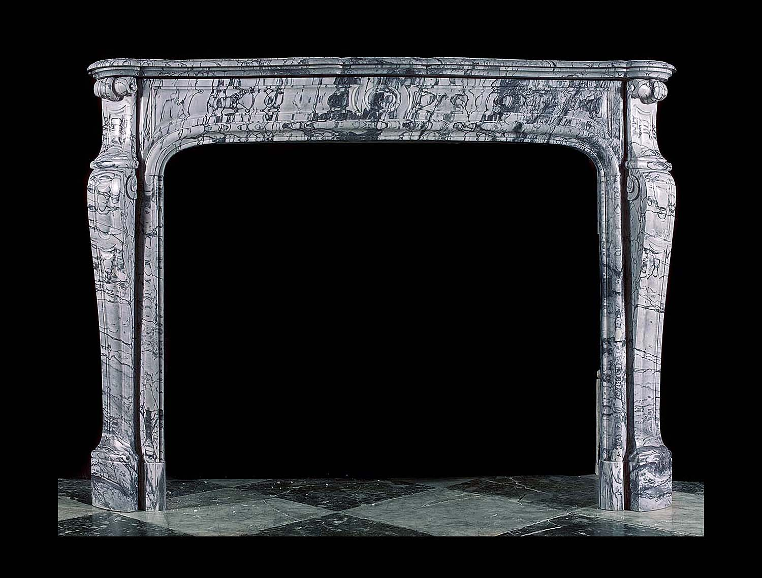 Antique fireplace in the Rococo style