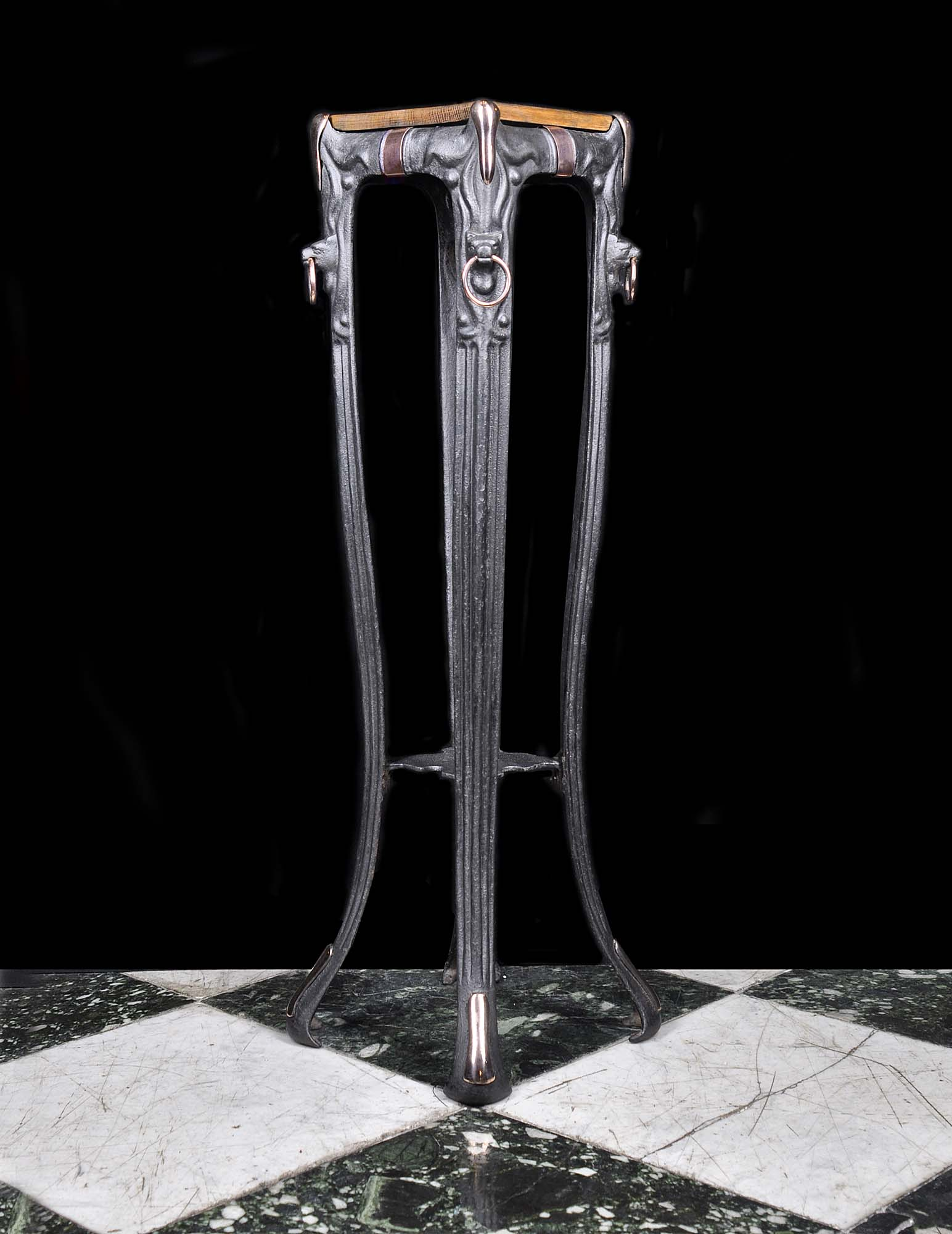 Art Nouveau patinated cast iron plant stand