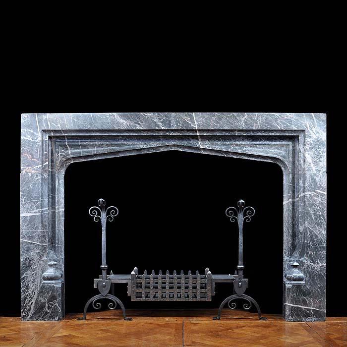 Antique Marble Tudor Gothic Fireplace Mantel