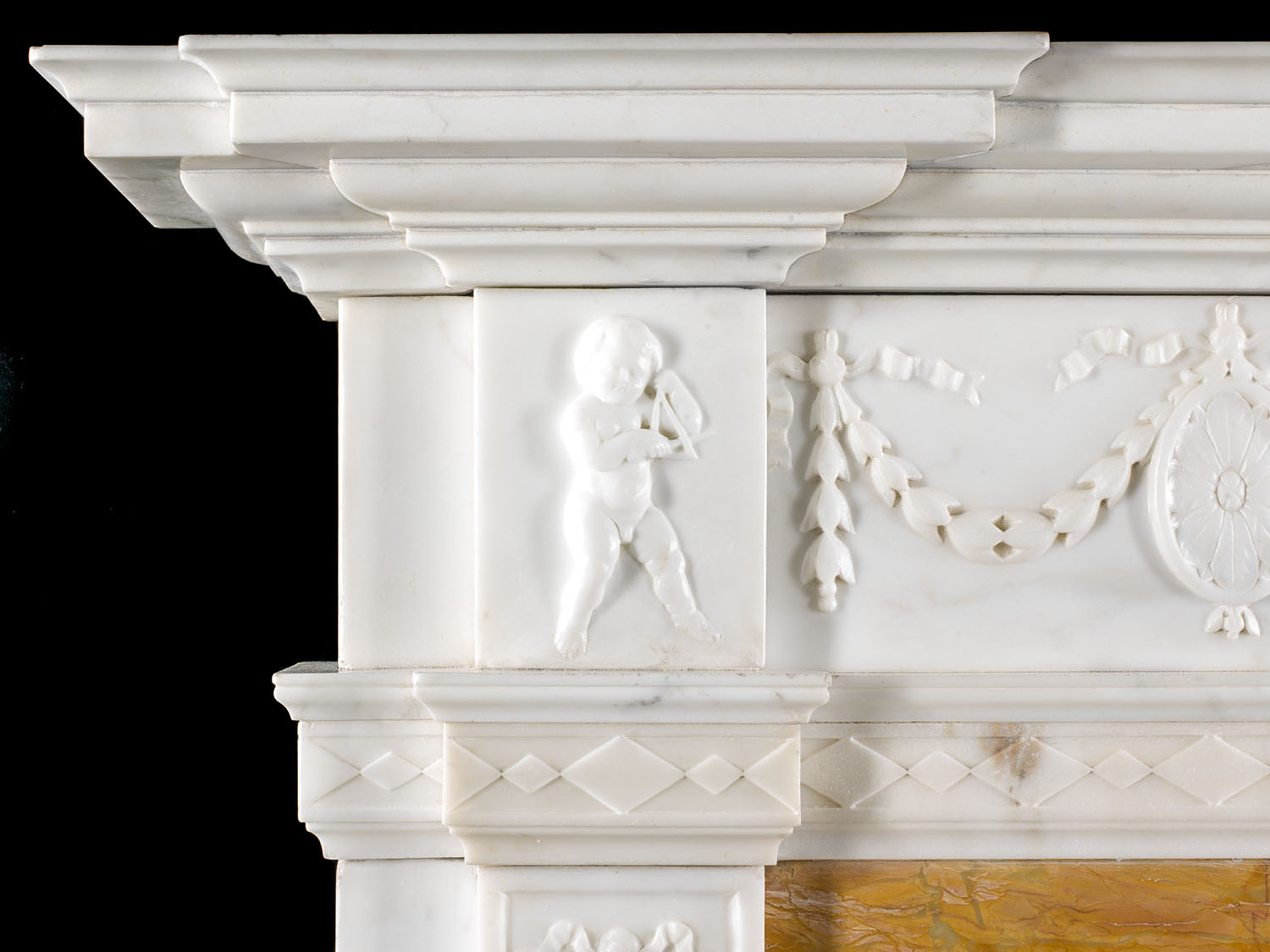 A 19th century Georgian style Statuary Marble Chimneypiece