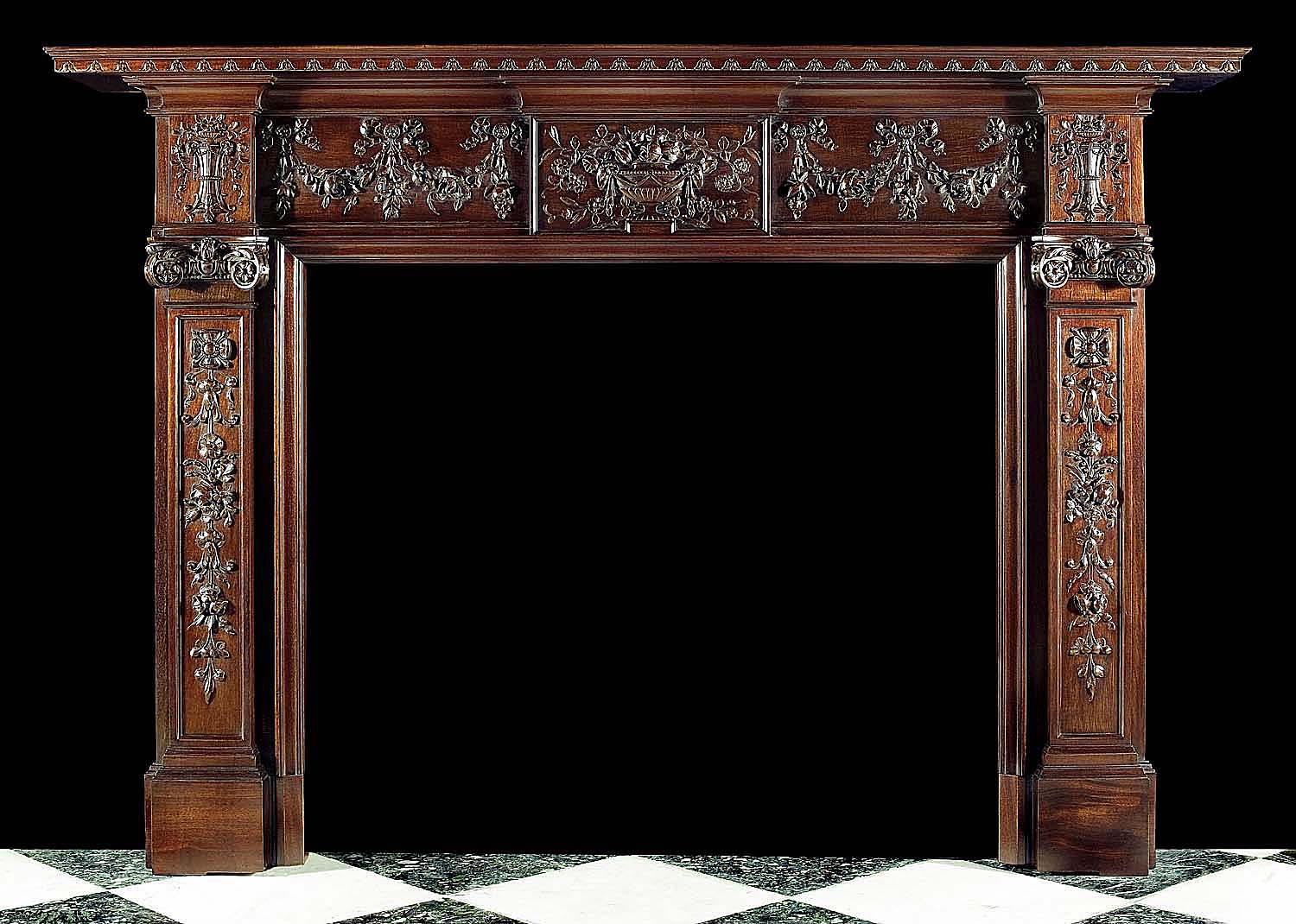 antique mahogany neo classical georgian fireplace mantel