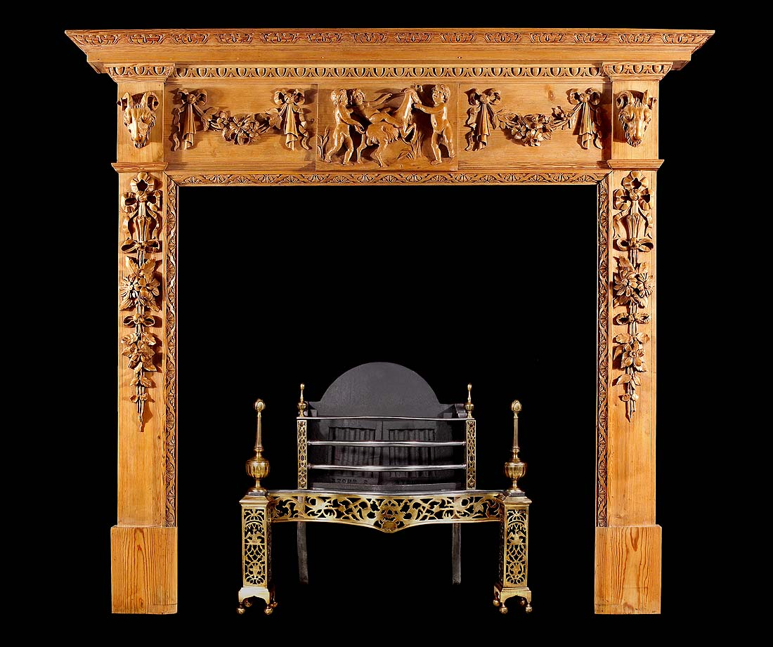 A Georgian Style Putti Pine Antique Fireplace