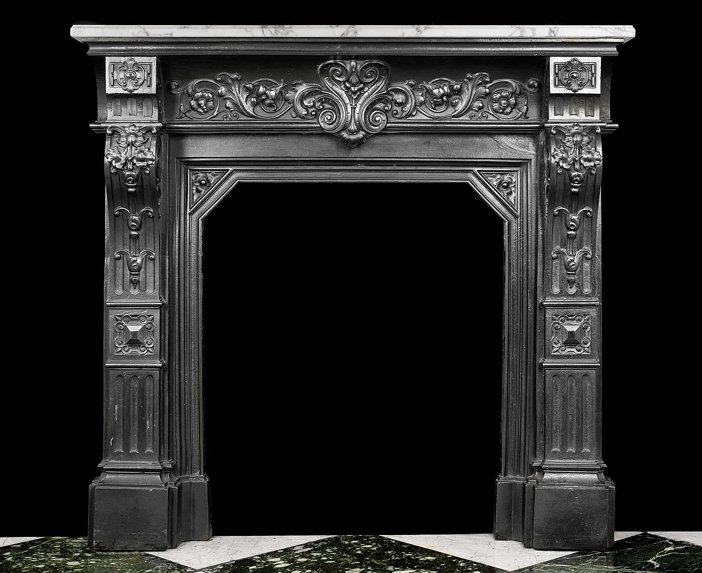 Antique Victorian Cast Iron Fireplace Mantel