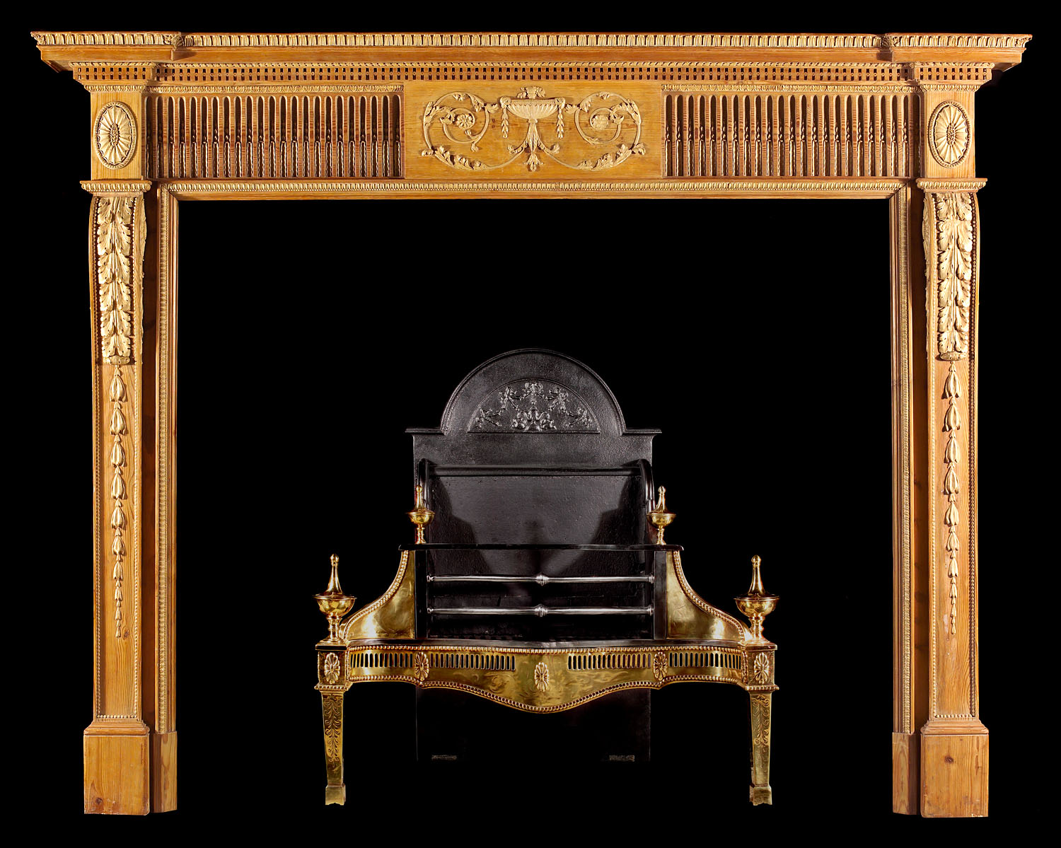 An Antique Pine Neo Classical style Chimneypiece Mantel