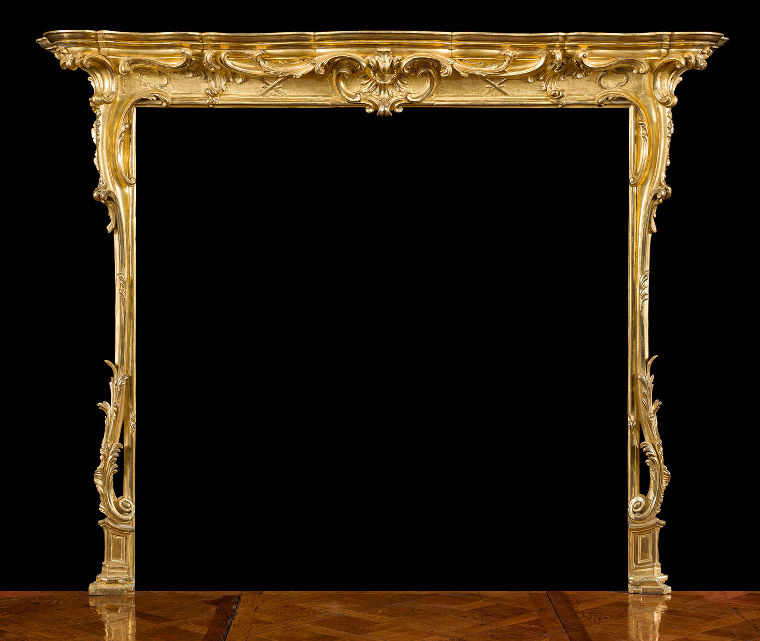 Antique English 18th century Giltwood Rococo style carved Chimneypiece