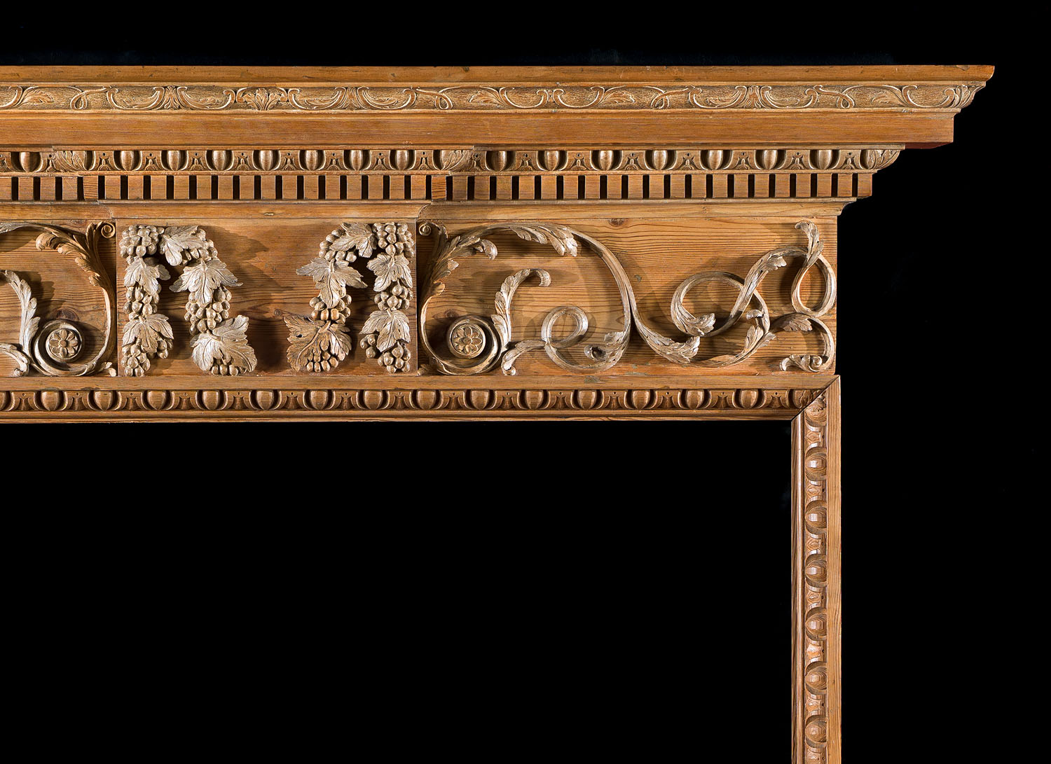 A George III carved pine Antique Fireplace  Mantel