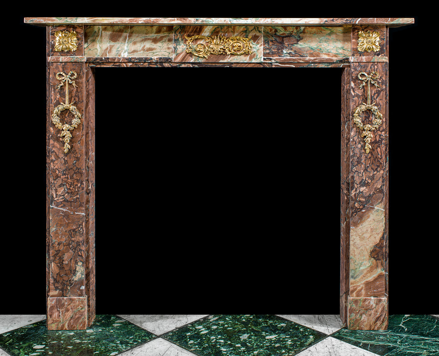 A Small Antique Louis XVI Campan Marble Cheminee Fireplace