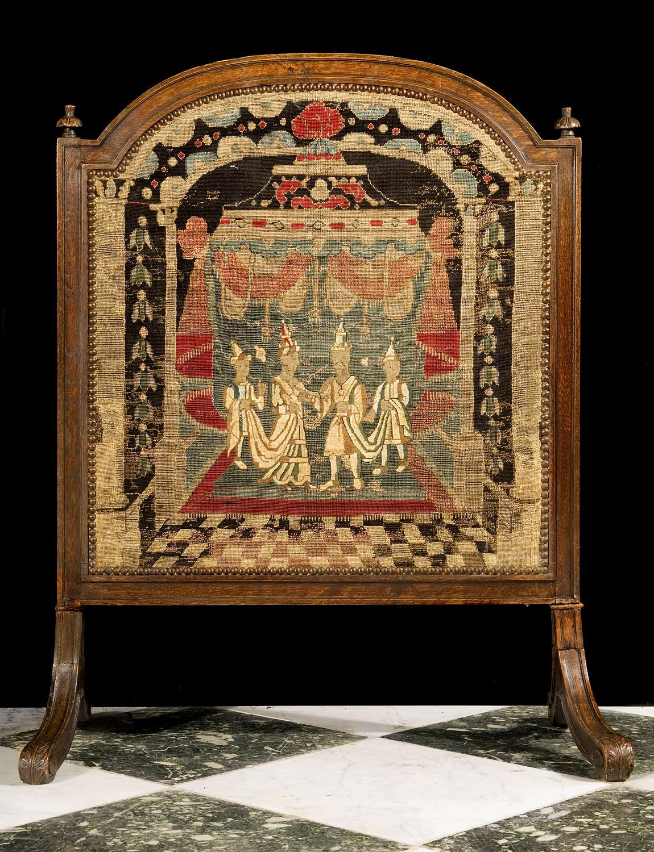 Antique Oak Baroque Tapestry Fire Screen Westland London