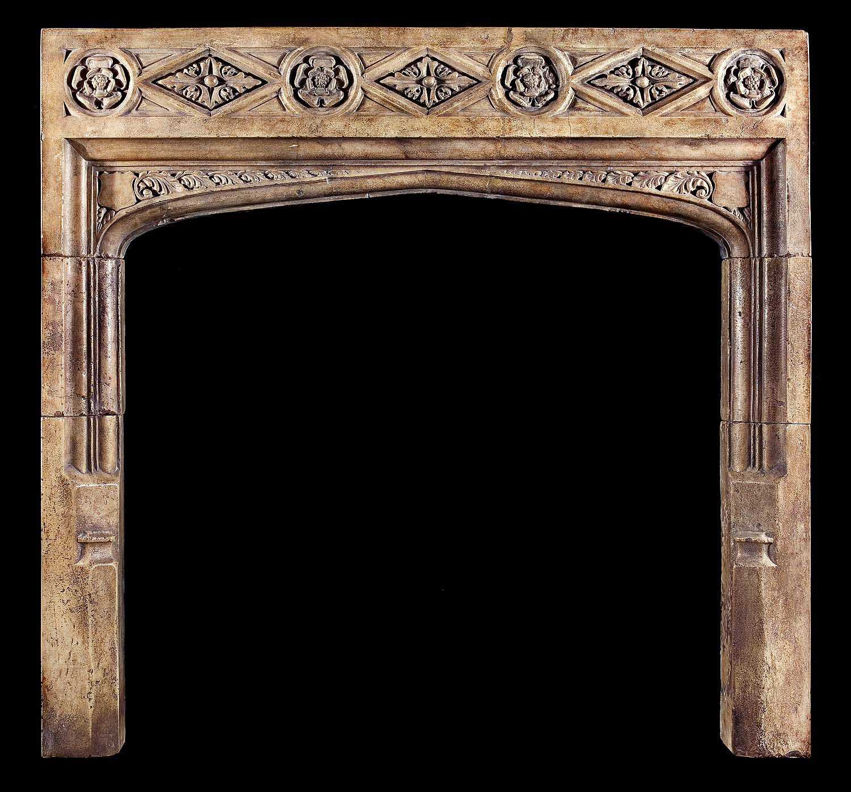 Antique Tudor Gothic Stone Fireplace Mantel