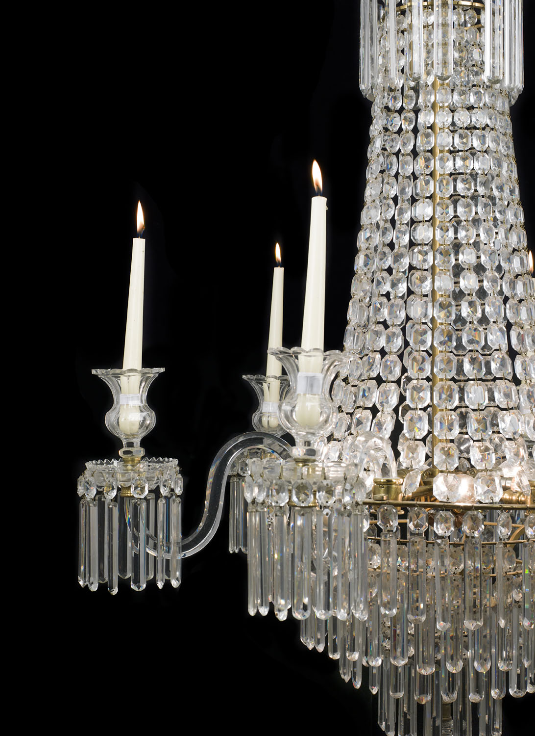 An Antique six branch Regency cut glass chandelier