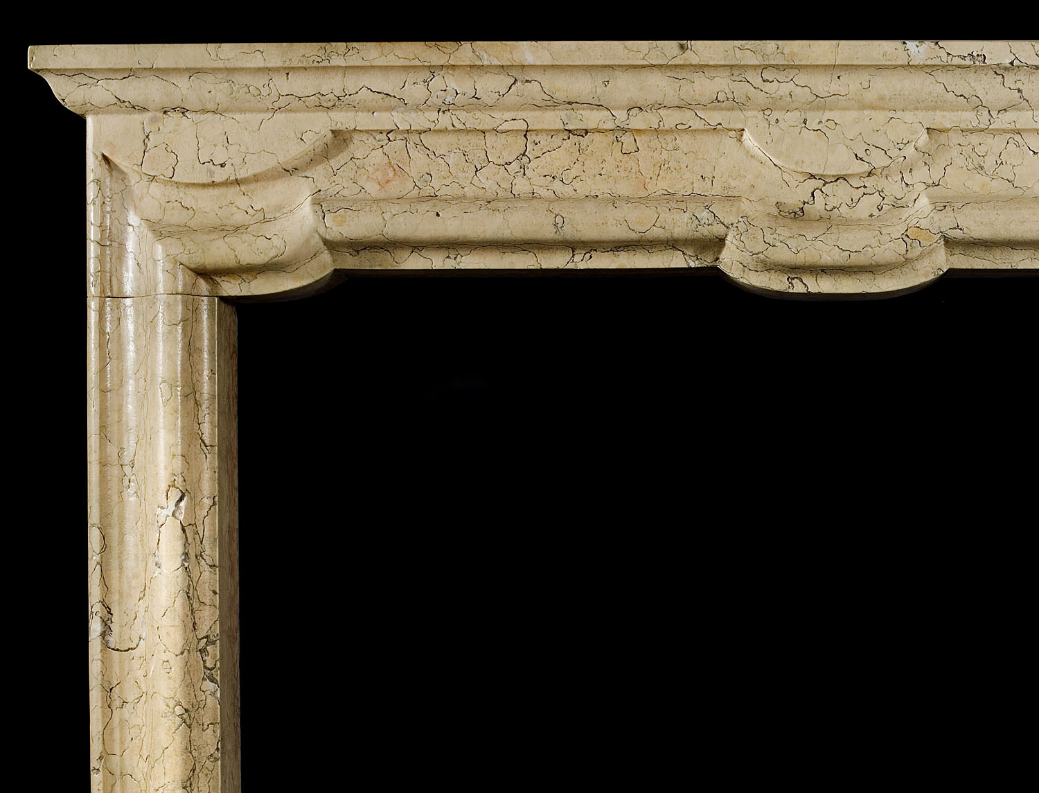 A late 20th century Italian Baroque Chimneypiece in Marmo Nembro Verdello Marble