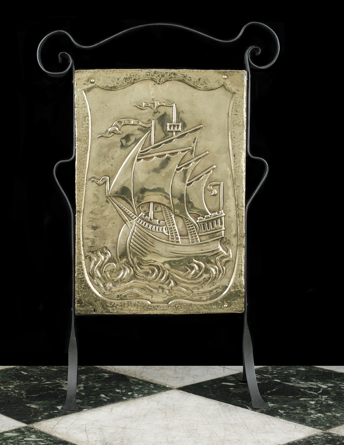 Antique Arts and Crafts Fire Screen with Galleon decoration