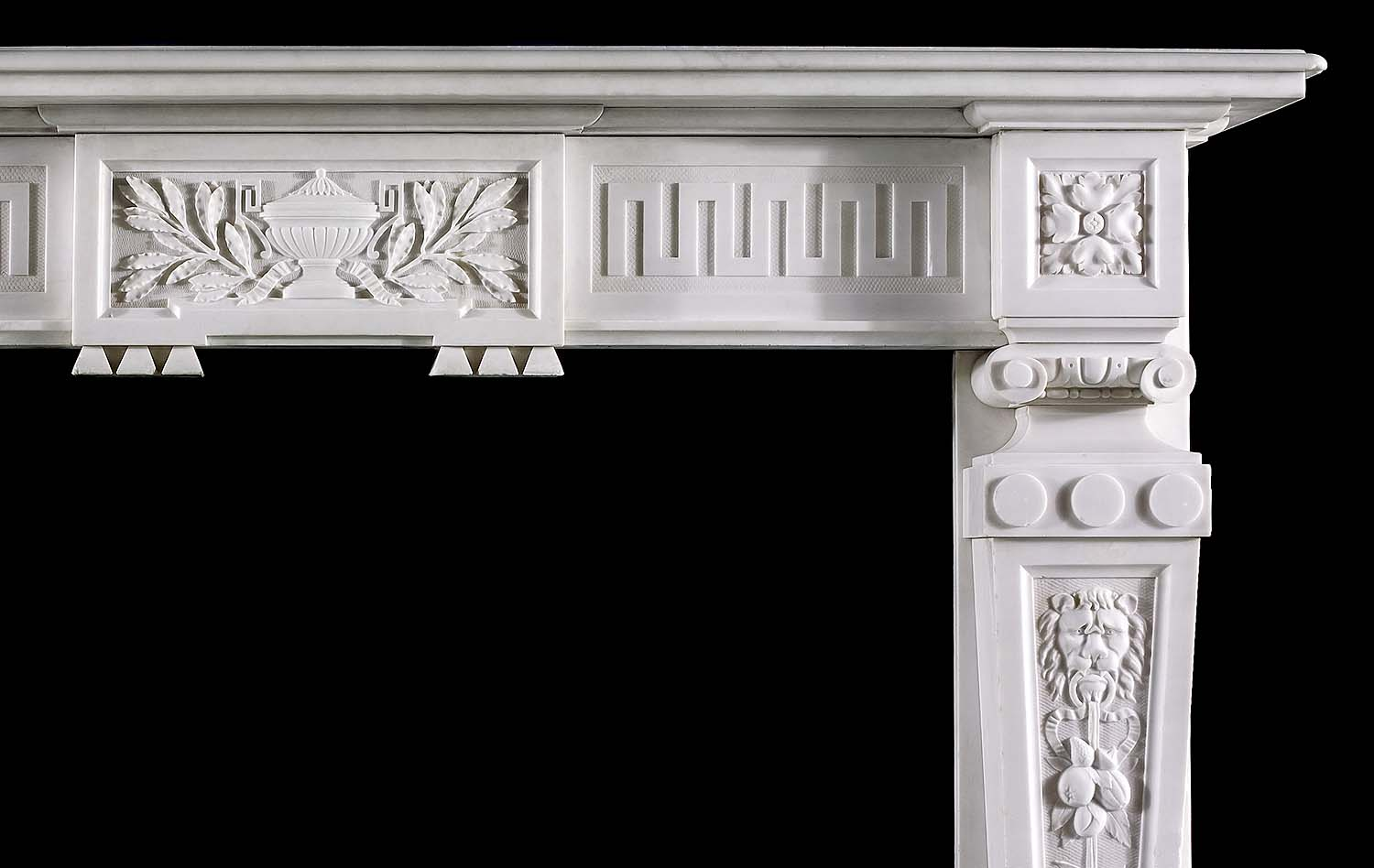 Antique Palladian White Marble Greek Key Fireplane Mantel