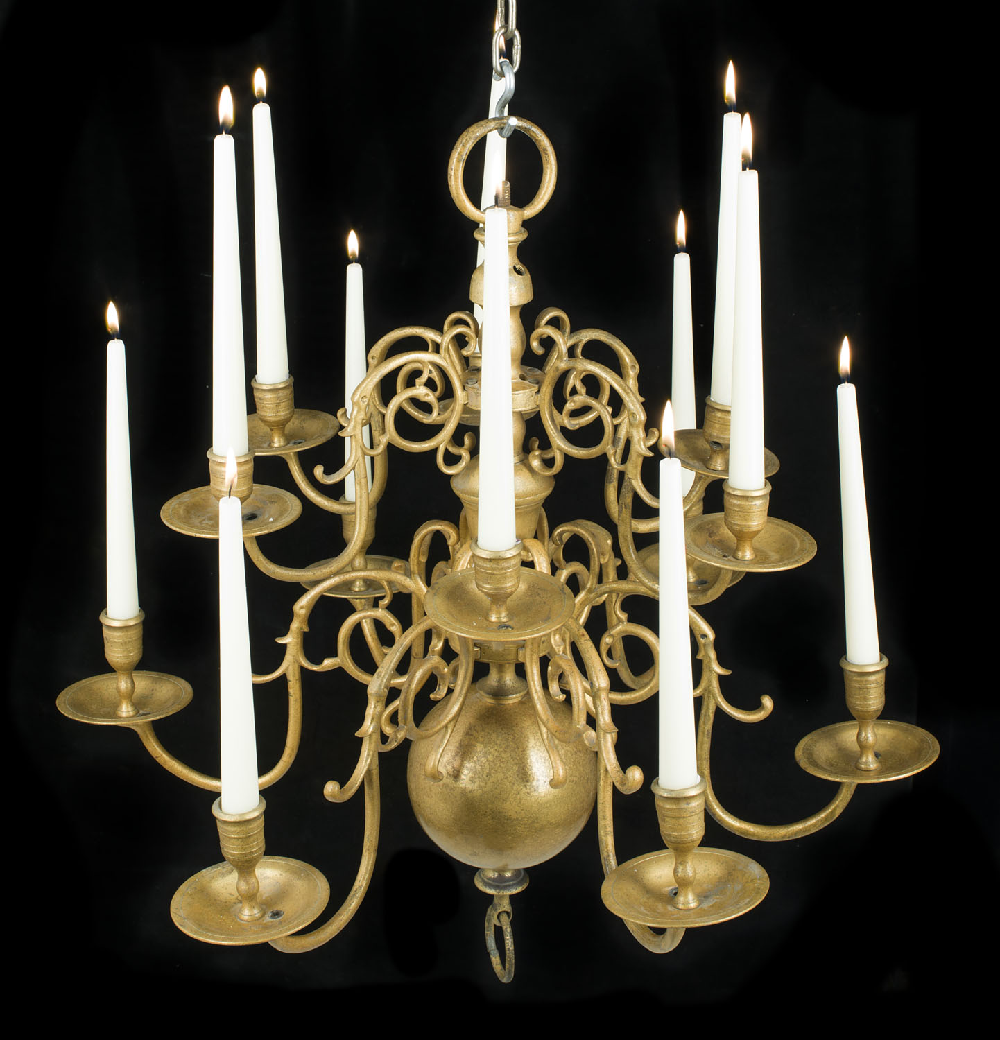 Small Compact Antique Brass Chandelier