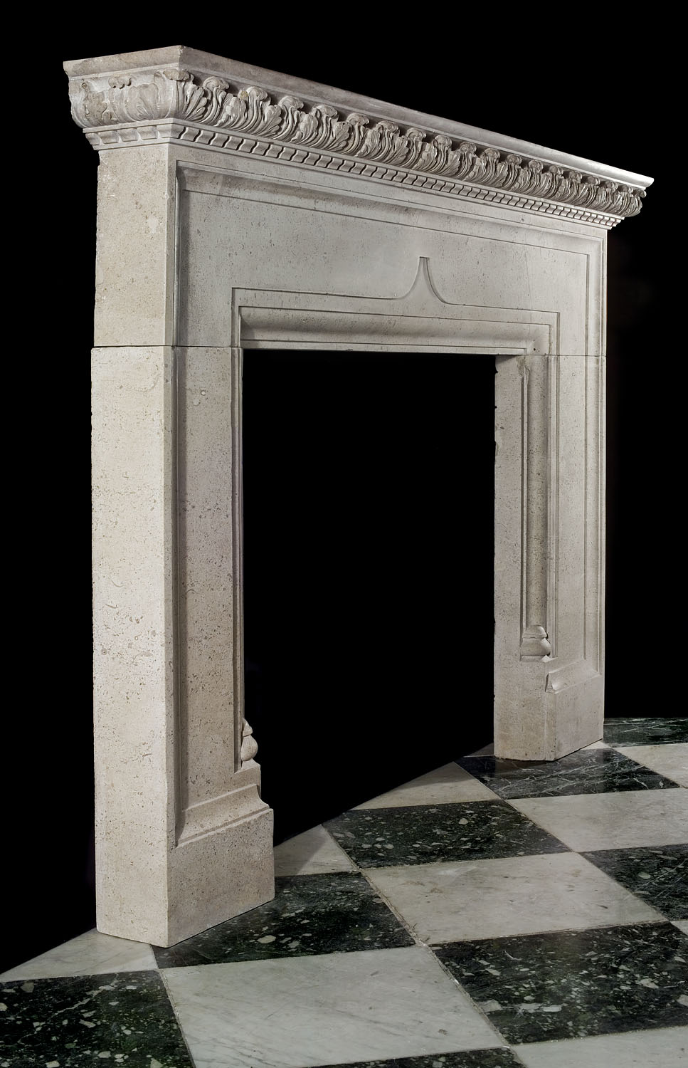 A late 19th century Queen Anne style Baroque stone chimneypiece