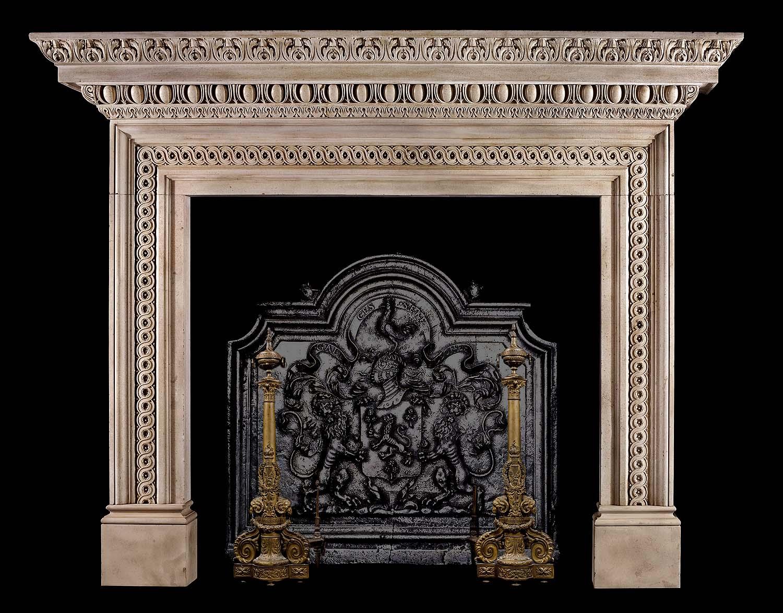 Antique Near Pair Of Palladian Portland Stone Fireplace