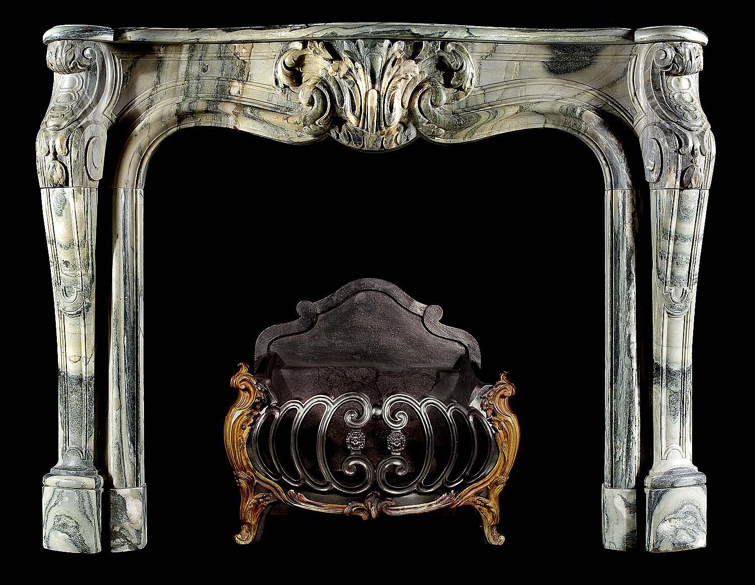 antique french louis xv marble rococo fireplace mantel. Black Bedroom Furniture Sets. Home Design Ideas