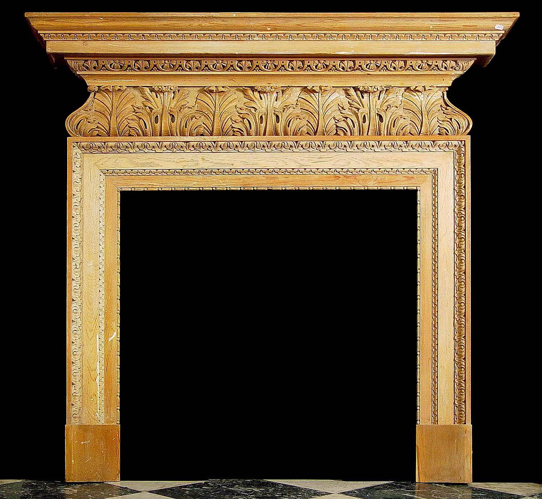 Antique English Georgian Carved Pine Wood Fireplace Mantel