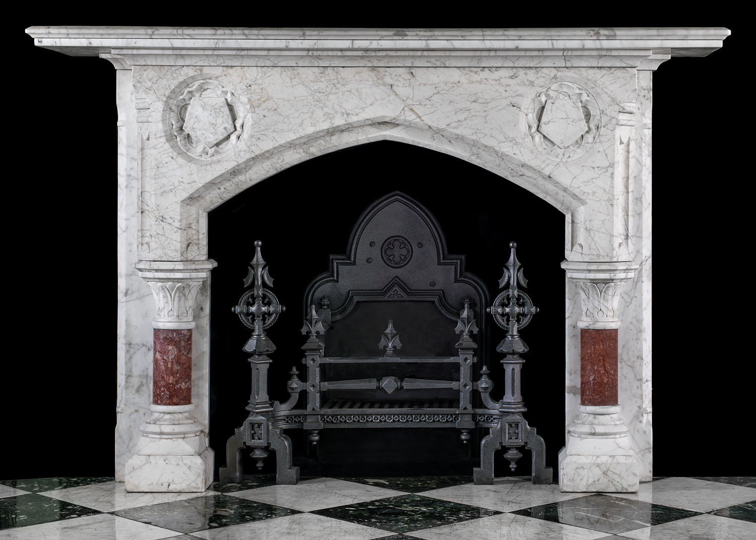 Gothic Revival White Marble Antique Fireplace Westland