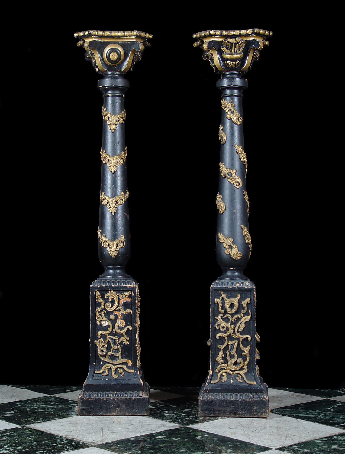 Antique Carved Wood Baroque Pedestals with baluster columns