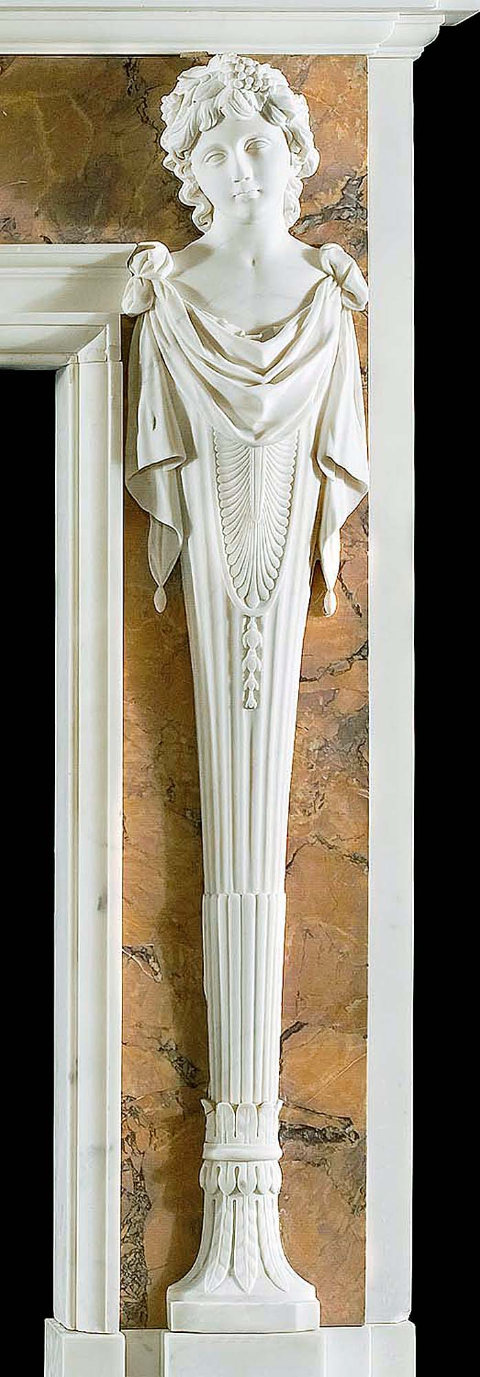 A 20th century decorative marble chimneypiece in the manner of Henry Cheere.
