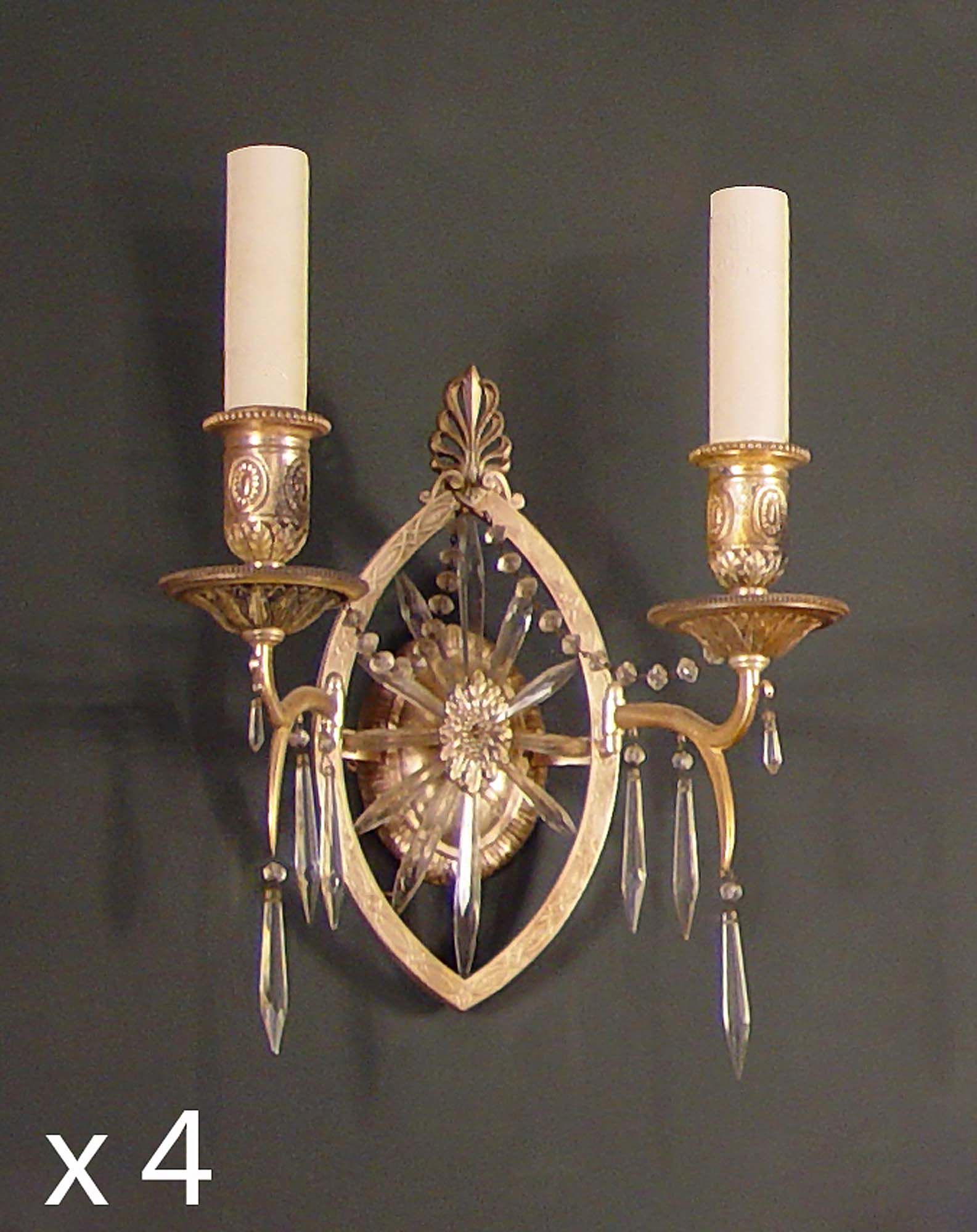 Antique Georgian Wall Sconces : Antique set four wall lights, sconces English Georgian silver plated Robert Adam style.