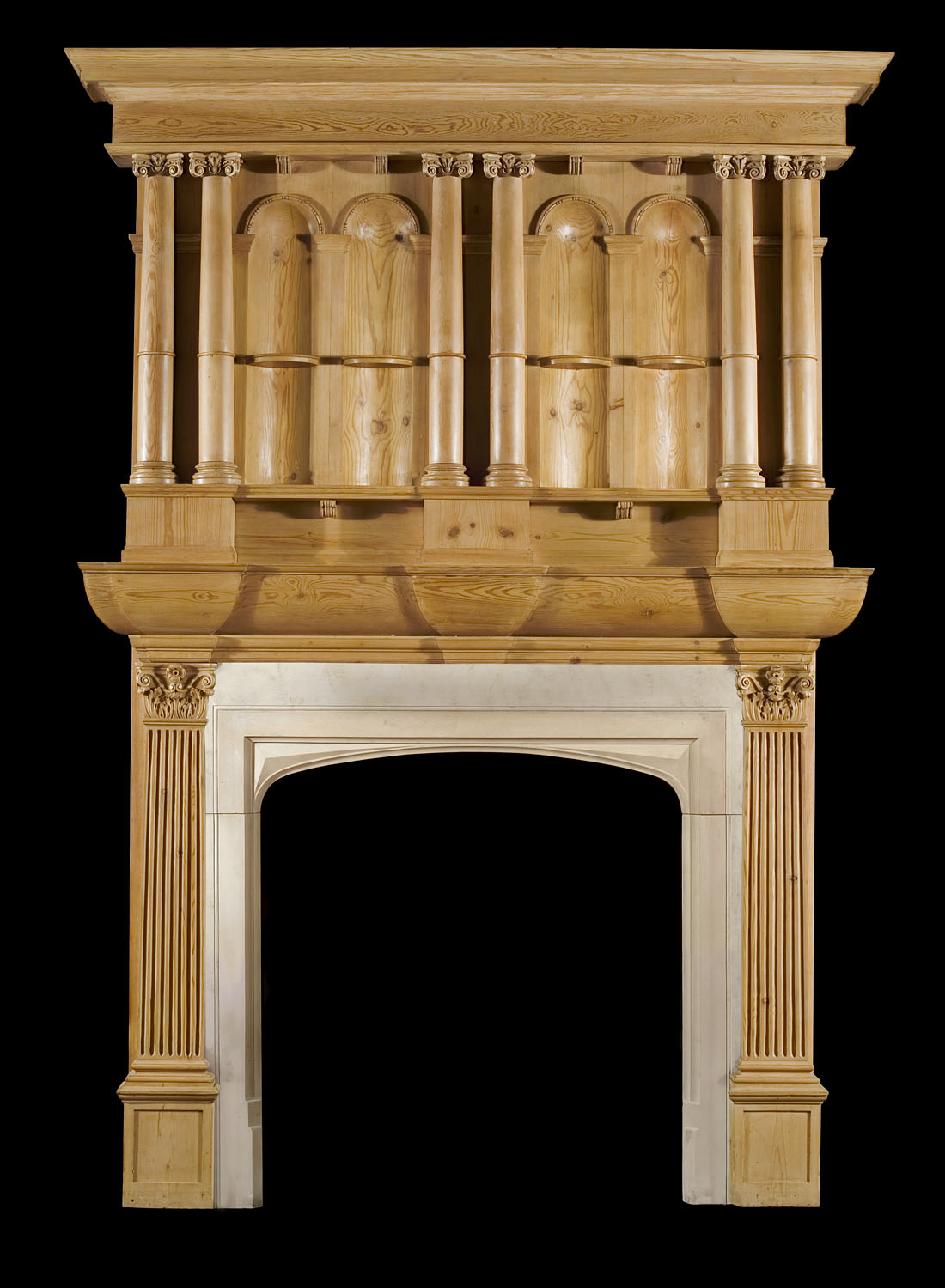A Pine Gothic Revival Chimneypiece and Overmantel