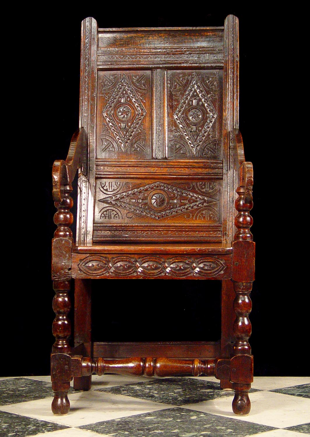 Antique old carved oak jacobean renaissance chair 17th century.