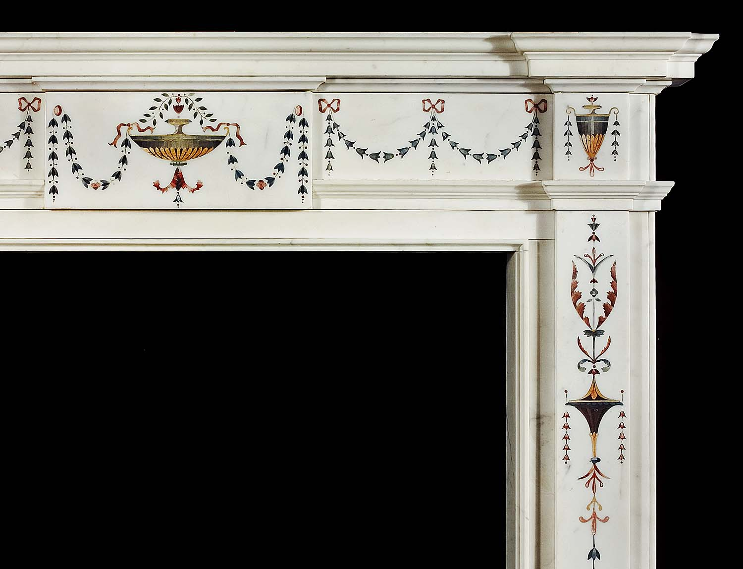 Antique Georgian Irish fireplace with Scagliola Inlay