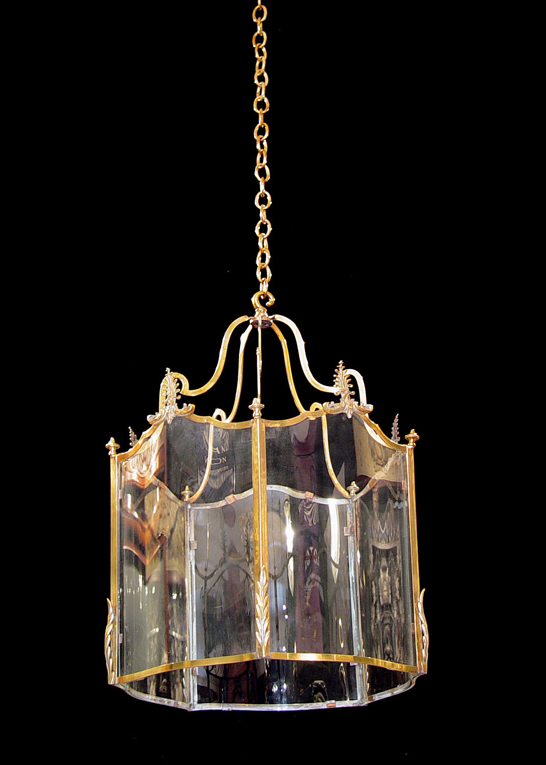 Antique Brass Regency Lantern with curved Glass panels