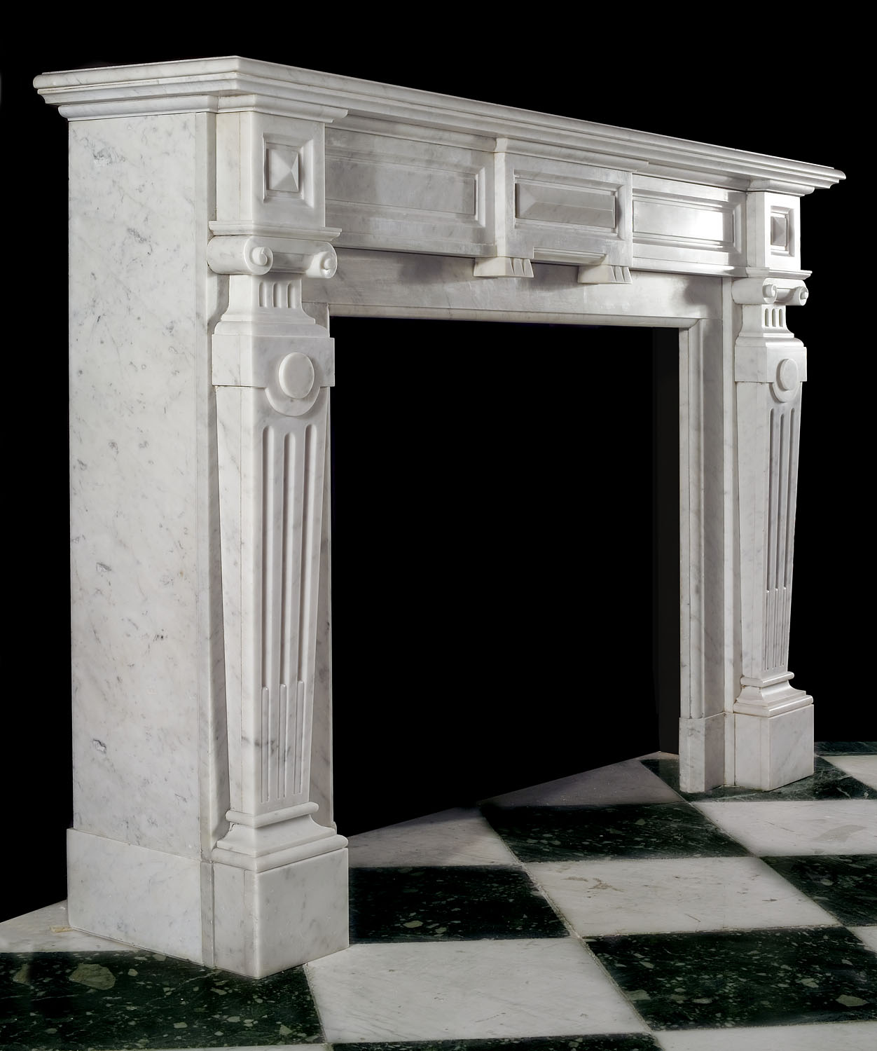 Palladian Style White Marble Fireplace