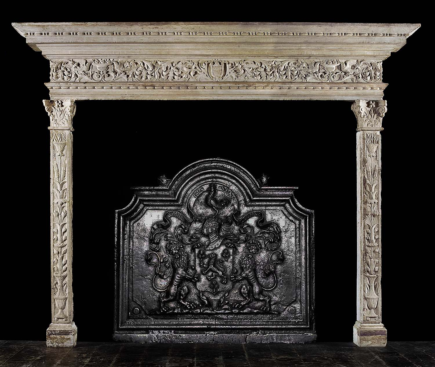 A rare antique Istrian Stone Venetian Renaissance Fireplace surround
