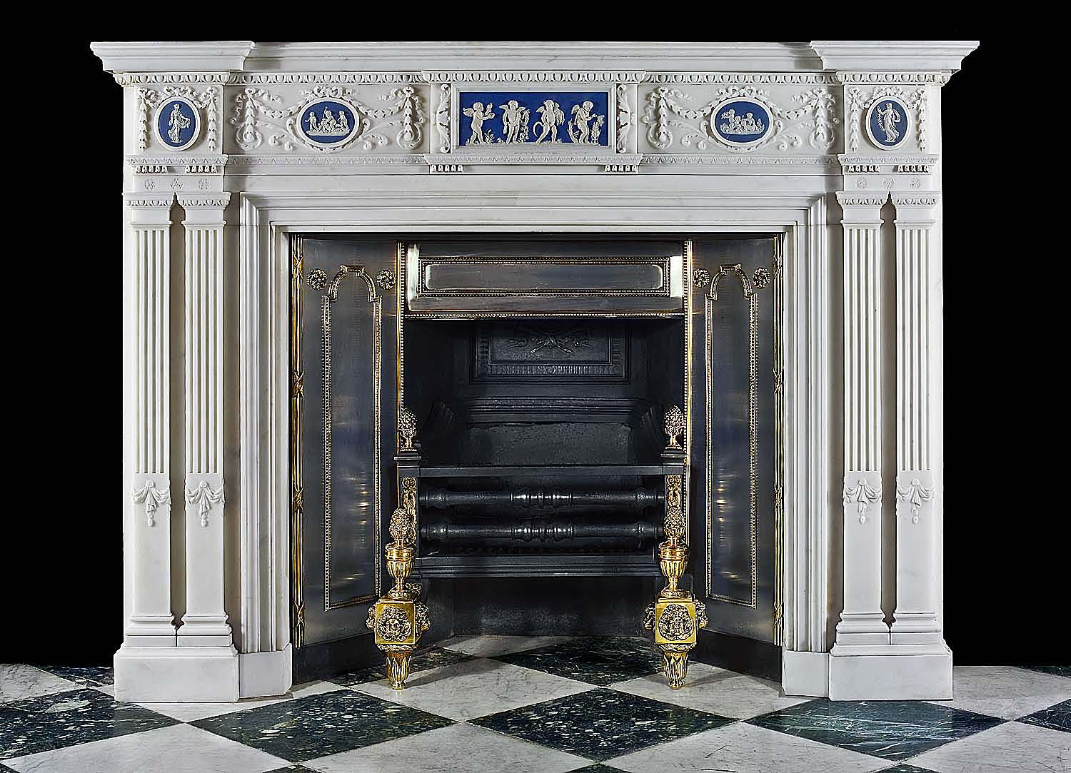A fine neoclassical antique marble fireplace surround