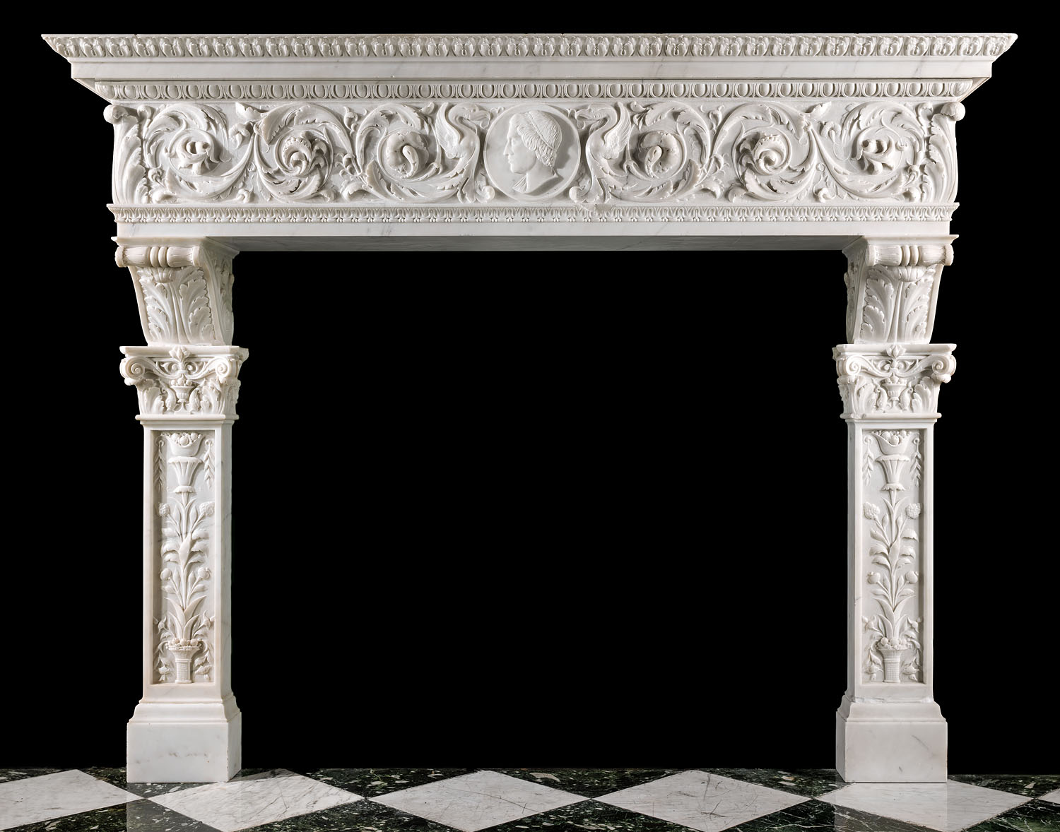 An Italian Palazzo Renaissance manner marble Chimneypiece.