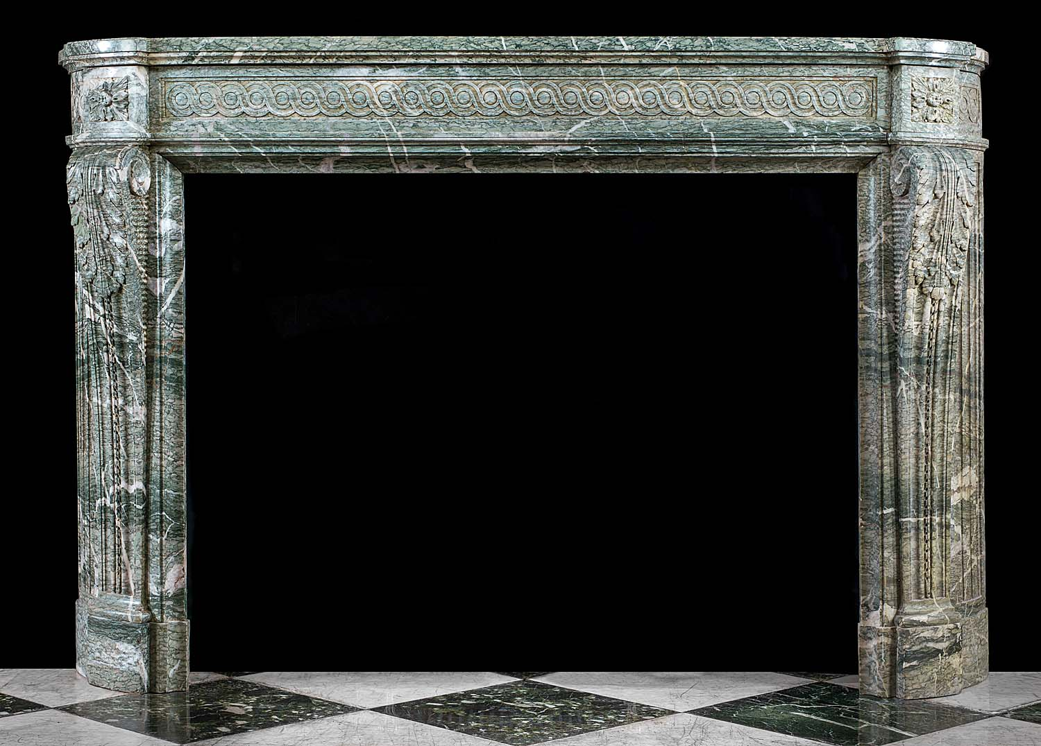 A Green Campan Ribboned Marble Louis XVI Antique Fireplace