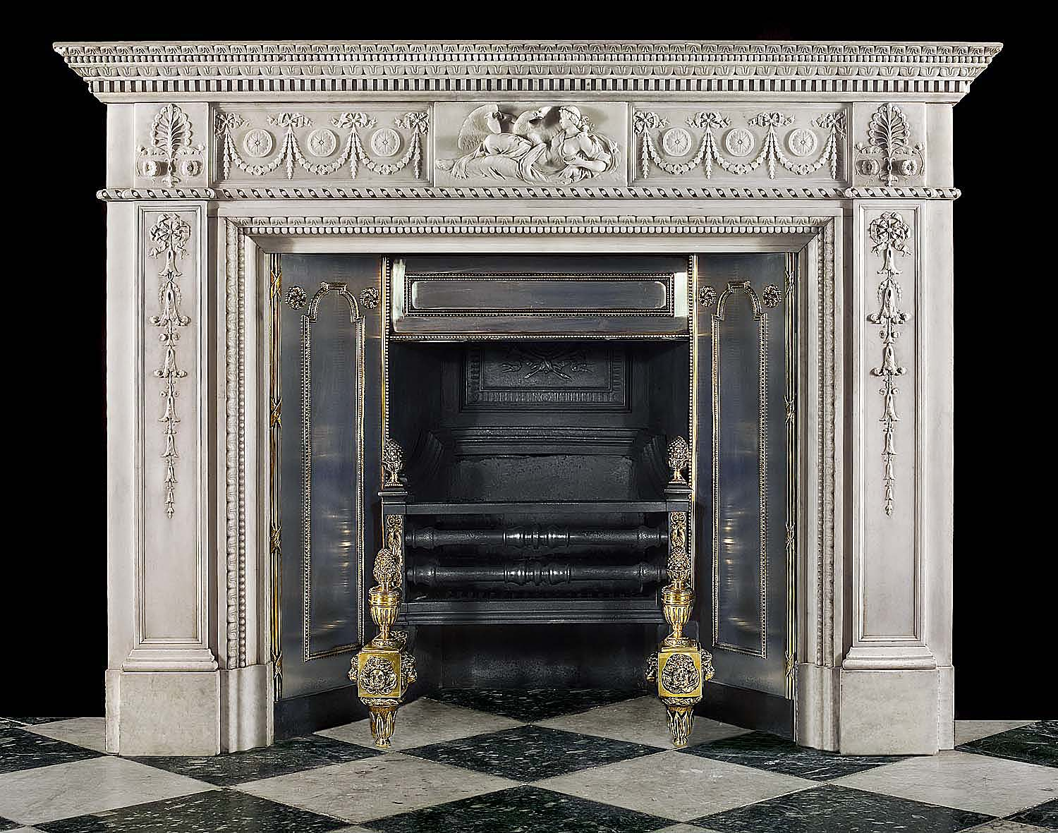 A fine statuary marble antique Georgian fireplace mantel