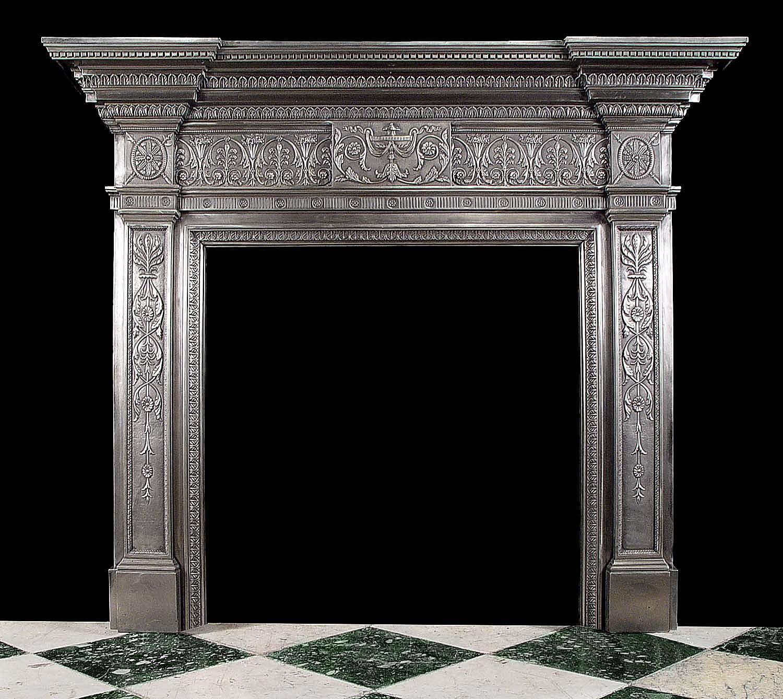 Antique Cast Burnished Iron Georgian Adam Manner Fireplace Mantel