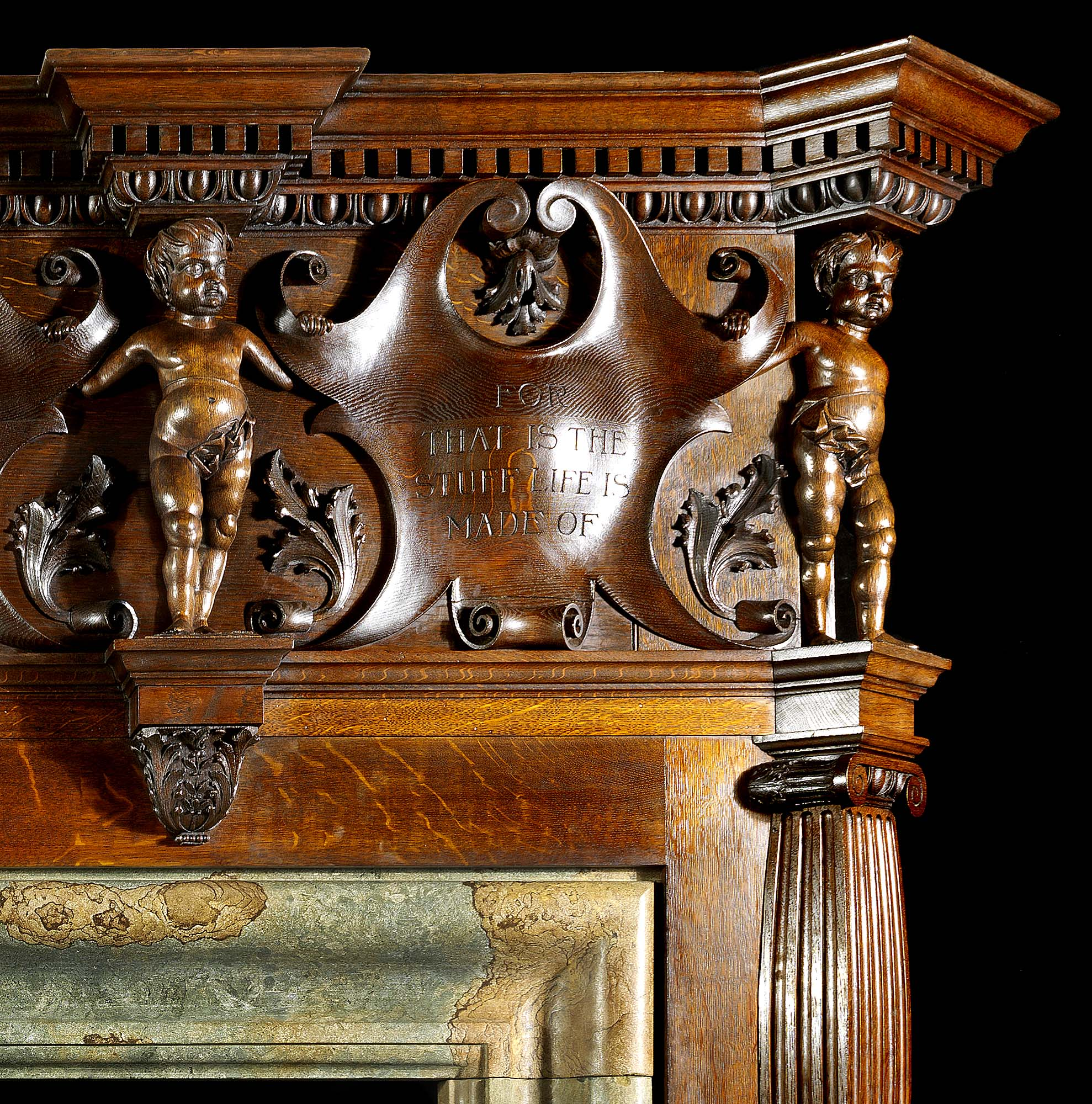 A large English Oak fireplace mantel