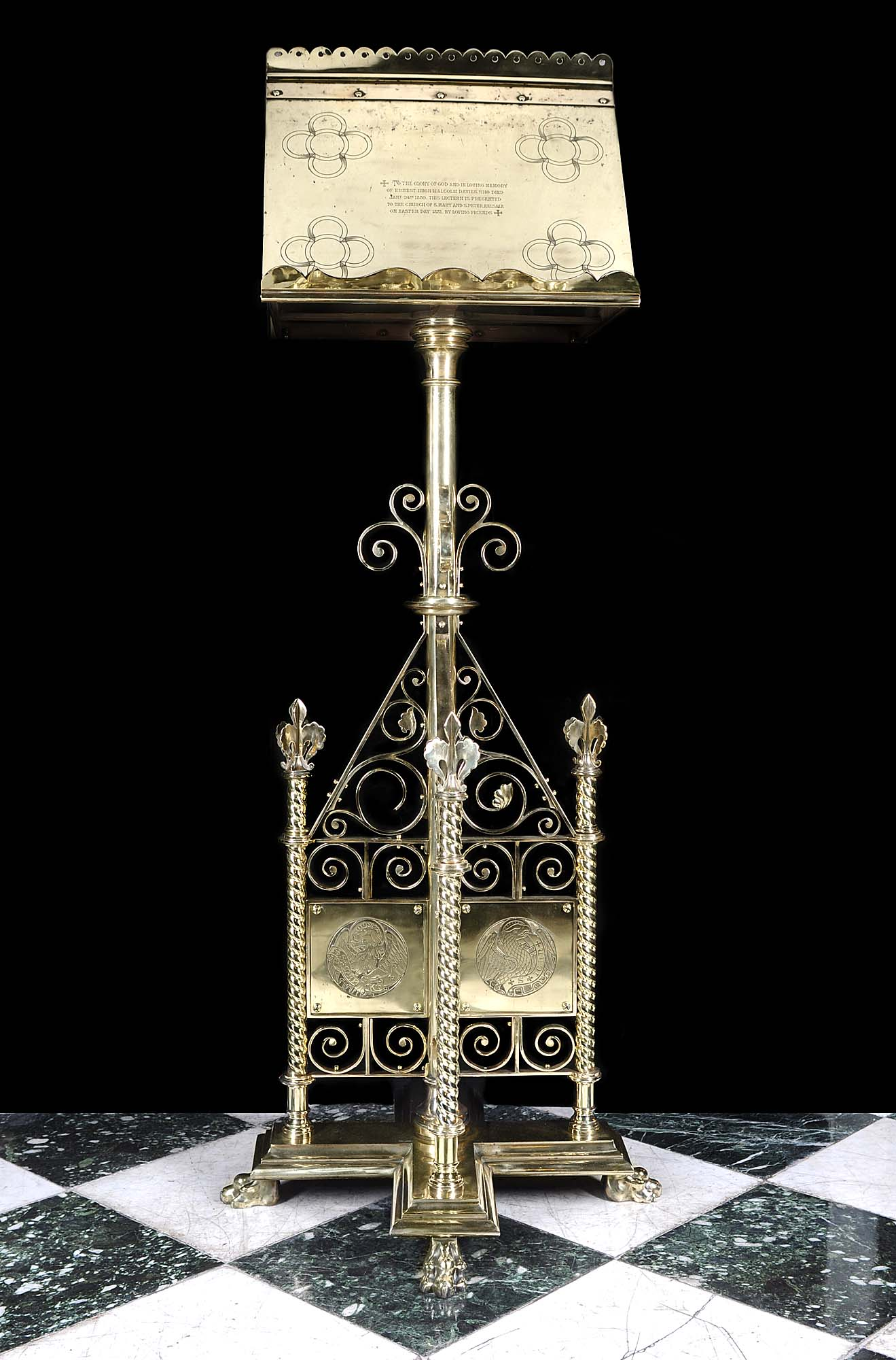 An Antique engraved Victorian Gothic Revival brass lectern