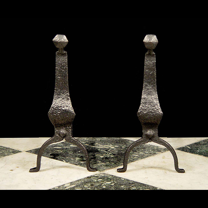 A pair of Antique wrought iron goose neck andirons