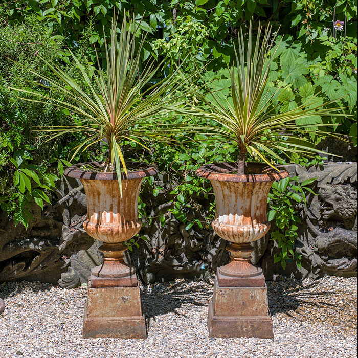 10021: A pair of 19th century cast iron Campana garden urns .  Link to: Antique fountains, sculptures, garden furniture and statuary