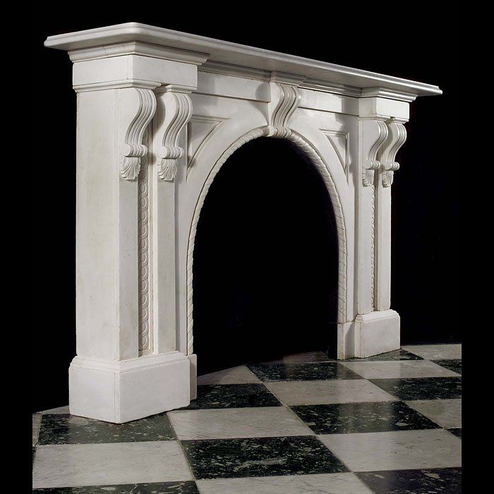 Antique Victorian Italian White Marble English Arched Chimneypiece
