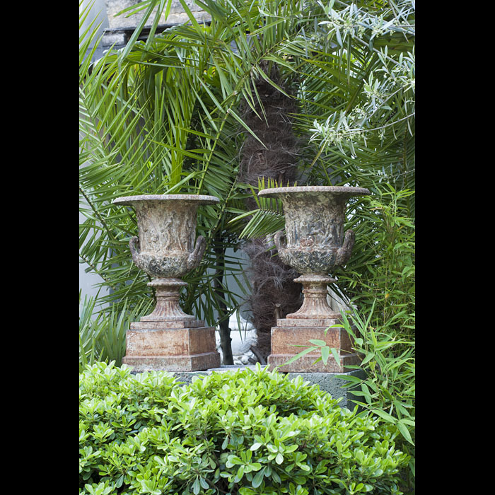Antique Cast Iron Pair of Borghese Garden Urns