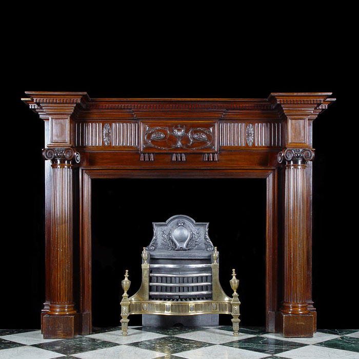 A Mahogany Georgian Adam Style Fireplace