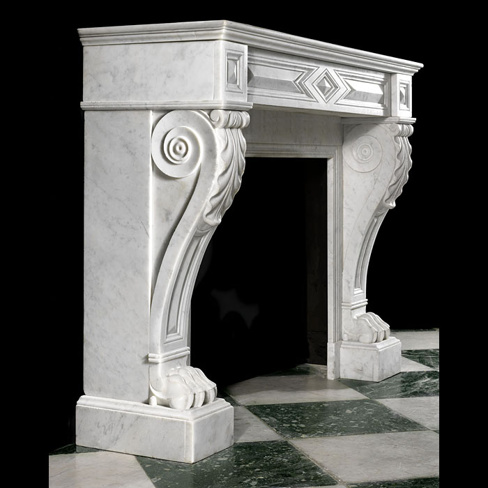 A Carrara Marble Louis XVI Style Fireplace