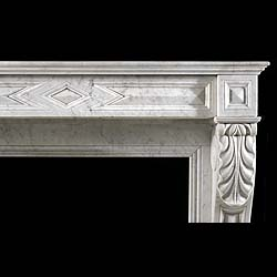 An Antique Carrara Marble Louis XVI style Cheminee Fireplace Surround