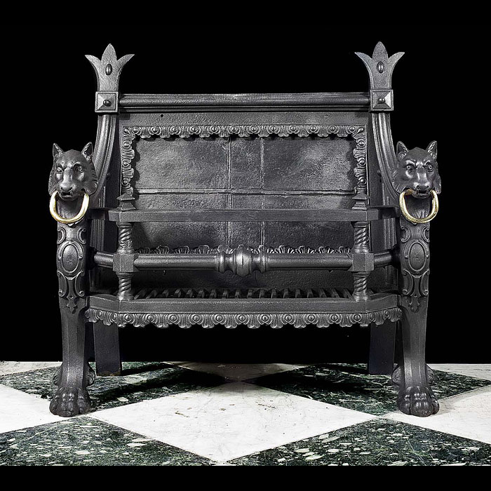 A Regency cast iron Baronial style wolfhound fire grate